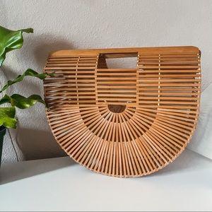 Vintage half moon crescent basket purse bag